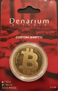 Brass Physical Denarium Bitcoin (front)